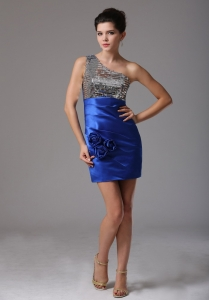 Royal Blue One Shoulder Flowers Nightclub/Homecoming Dress