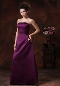 Taffeta Maxi/Celebrity Dress Dark Purple Column Strapless