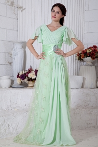Apple Green Prom/Maxi Dress V-neck Chiffon Beading Brush Train