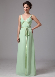 Apple Green Bridesmaid Dress Sash V-neck Straps Chiffon