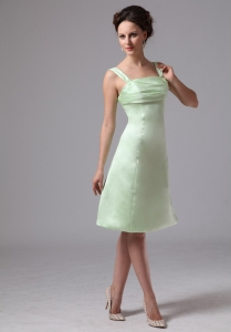 Apple Green Bridesmaid Dress Straps A-line Knee-length Ruched