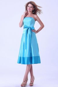 Aqua Blue Strapless Bridemaid Dress Sash Tea-length Satin