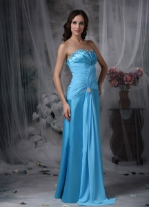 Aqua Blue Bridesmaid Dress Chiffon Taffeta Beading Sweetheart