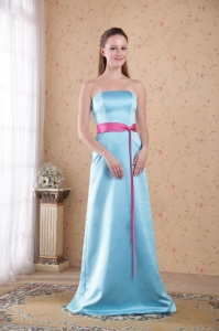 Aqua Blue Bridesmaid Dress Red Sash Satin Strapless Brush Train