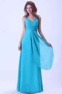 Aqua Blue Prom Dress With Floor-length V-neck Chiffon Ruch