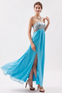 Aqua Pageant Celebrity Dress Sequin Strapless Ankle-length