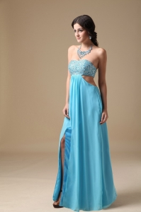 Aqua Pageant Evening Dress Strapless Chiffon Beading