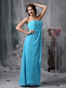 Baby Blue Empire Strapless Chiffon Celebrity Dresses