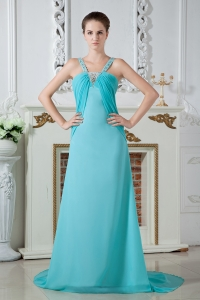 Ruched and Beaded Prom Dress Aqua Blue Straps Chiffon Brush Train