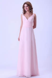 Baby Pink V-neck Bridemaid Dress Chiffon Ruched Floor-length