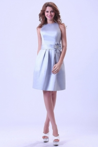 Silver Prom / Homecoming Dress Bateau Neck Knee-length Satin