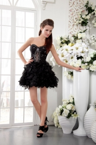 Sweetheart Little Black/Homecoming Dress Organza Beading Mini