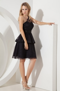 One Shoulder Prom Little Black Dress Black Mini-length Tulle Sash