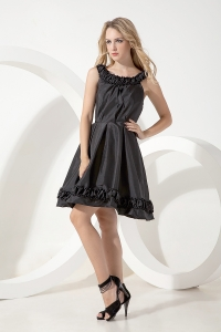 Prom Little Black Dress Scoop Mini-length Taffeta Ruched Taffeta