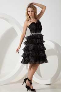 Little Black/Homecoming Dress Straps Knee-length Beading Organza