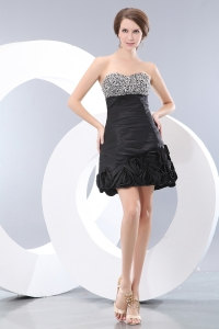 Little Black/Graduation Dress Sweetheart Taffeta Beading Mini-length