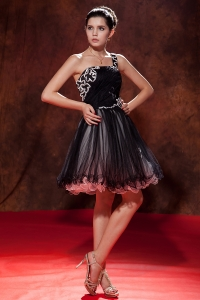 One Shoulder Black Prom Little Black Dress Mini-length Tulle
