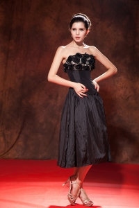 Black Prom Little Black Dress Strapless Taffeta Handle Flowers