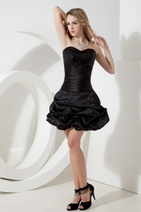 Sweetheart Prom Little Black Dress Taffeta Ruch Mini-length
