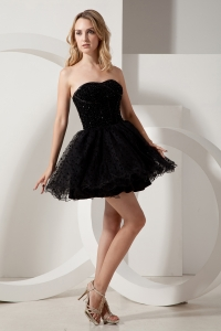 Strapless Prom Little Black Dress Dotted Organza Mini-length Beading