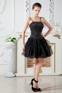 Prom Little Black Dress Spaghetti Straps Organza Beading Mini-length