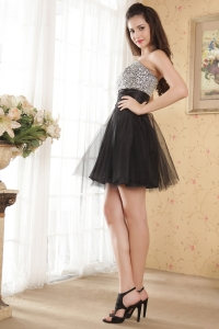 Little Black Dresse Sweetheart Mini-length Tulle Beading s