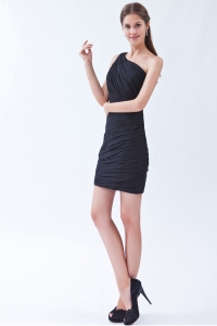 Black One Shoulder Mini-length Chiffon Pleats Lil Black Dress
