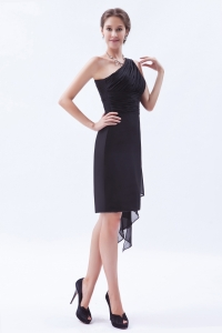 Black One Shoulder Chiffon Ruch Prom Little Black Dress
