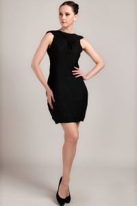 Black Mini-length Satin Ruch Little Black Dresses