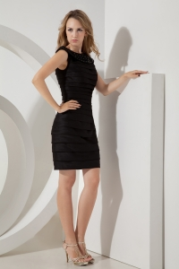 Ruched Little Black/Homecoming Dress Mini-length Taffeta Bateau