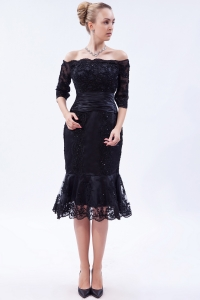 Black Off the Shoulder Homecoming Dress Beading Ruch