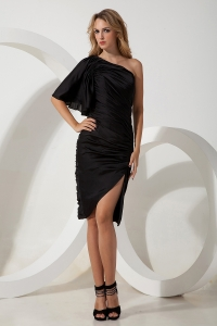 One Shoulder Little Black/Homecoming Dress Chiffon Ruch Side Zipper