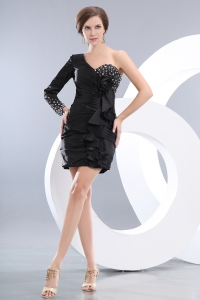 Little Black Dress One Shoulder Long Sleeve Mini-length Beading