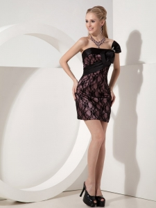 Black One Shoulder Nightclub/Graduation Dress Mini-length Lace