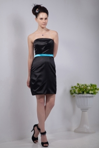Little Black/Cocktail Dress Strapless Mini-length Sash