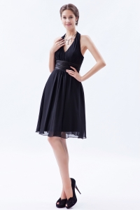 Black Empire Halter Evening Dresses Knee-length Ruch