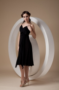 Black Chiffon Bridesmaid Dress Spaghetti Straps Knee-length