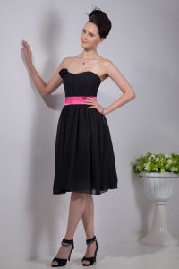Little Black/Homecoming Dress Strapless Sash Knee-length