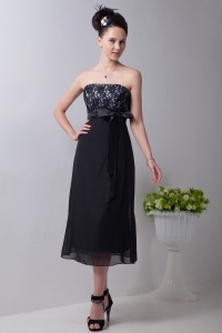 Strapless Little Black/Homecoming Dress Tea-length Sash