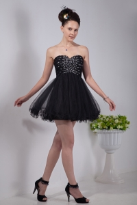 Black Sweetheart Prom Little Black Dress Mini-length Bead