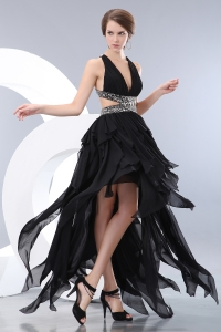 Black Prom Pageant Dress V-neck High-low Beading Empire Chiffon
