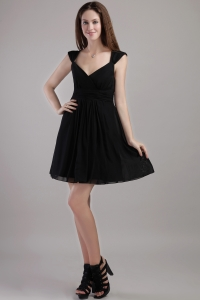 V-neck Mini-length Chiffon Little Black/Holiday Dresses