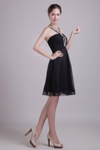 V-neck Little Black/Cocktail Dress Chiffon Beading Knee-length