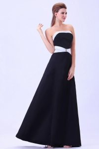 Black and White Evening Dress Satin Floor-length