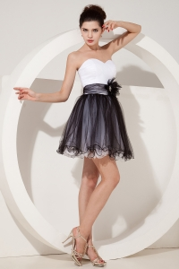 Sweetheart Cocktail/Graduation Dress Black and White Mini-length