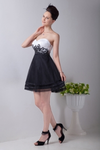 Black and White Little Black Dress Sweetheart Appliques
