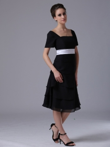 Black Bridesmaid Dress Square Short Sleeves Chiffon White Sash