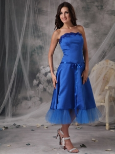 Royal Blue Bridesmaid Dress Tea-length Taffeta Sash Strapless