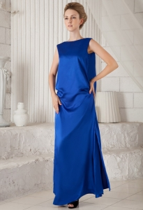 Royal Blue Maxi/Celebrity Dress Column Bateau Ankle-length