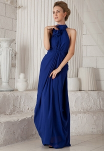 Maxi/Celebrity Dress Royal Blue Halter Chiffon Ruched Column
